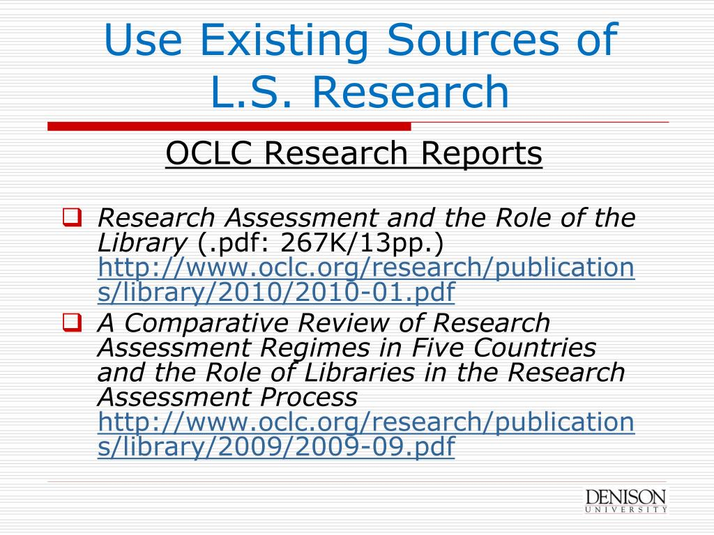 Use Existing Sources of L.S. Research