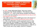 has saddam s demise eliminated eastern front threat to israel
