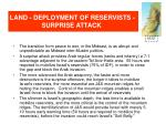 land deployment of reservists surprise attack