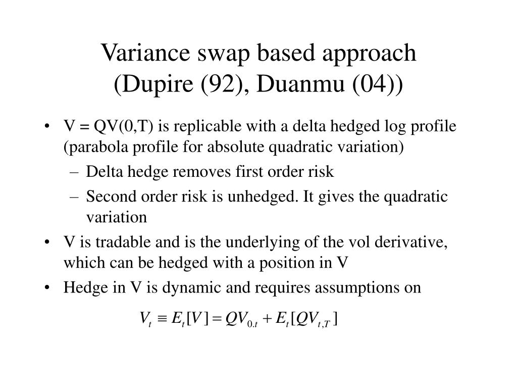 Variance swap based approach
