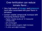 over fertilization can reduce tomato flavor