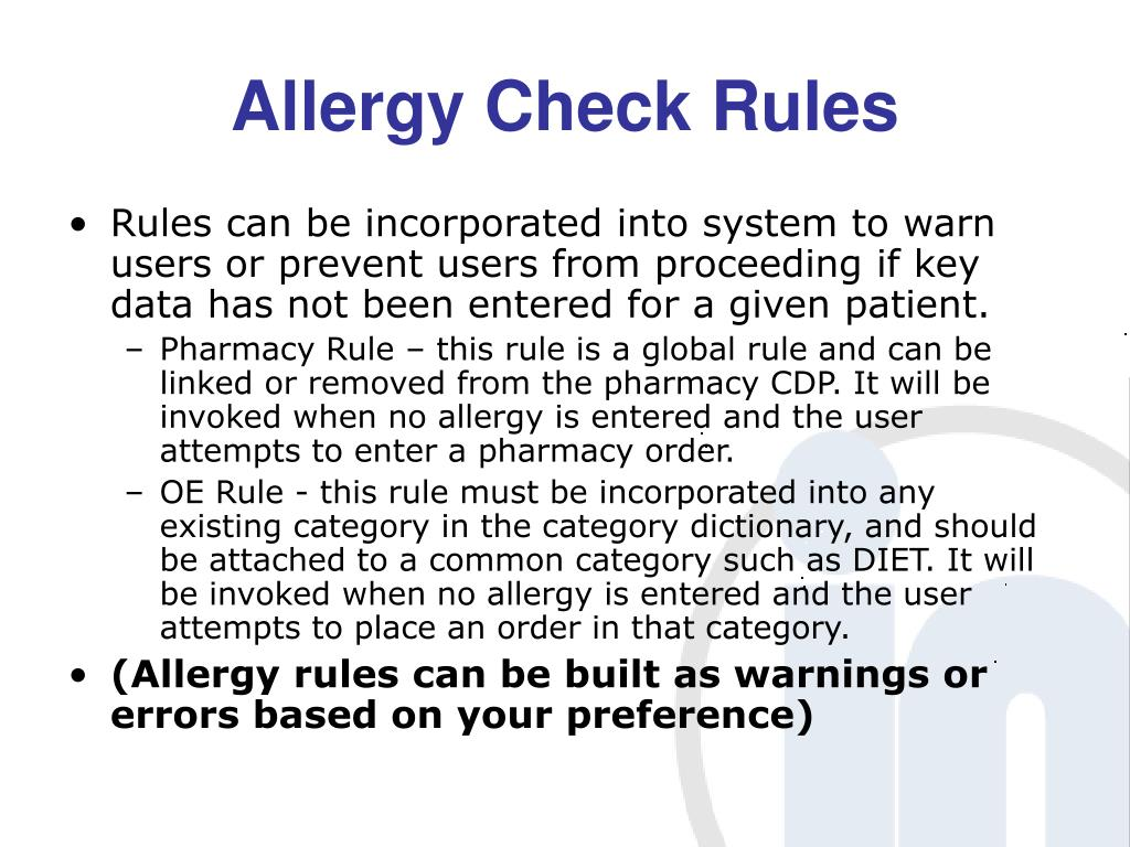 Allergy Check Rules