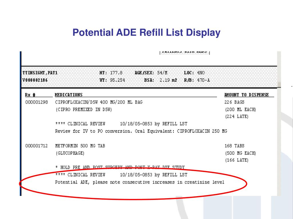 Potential ADE Refill List Display