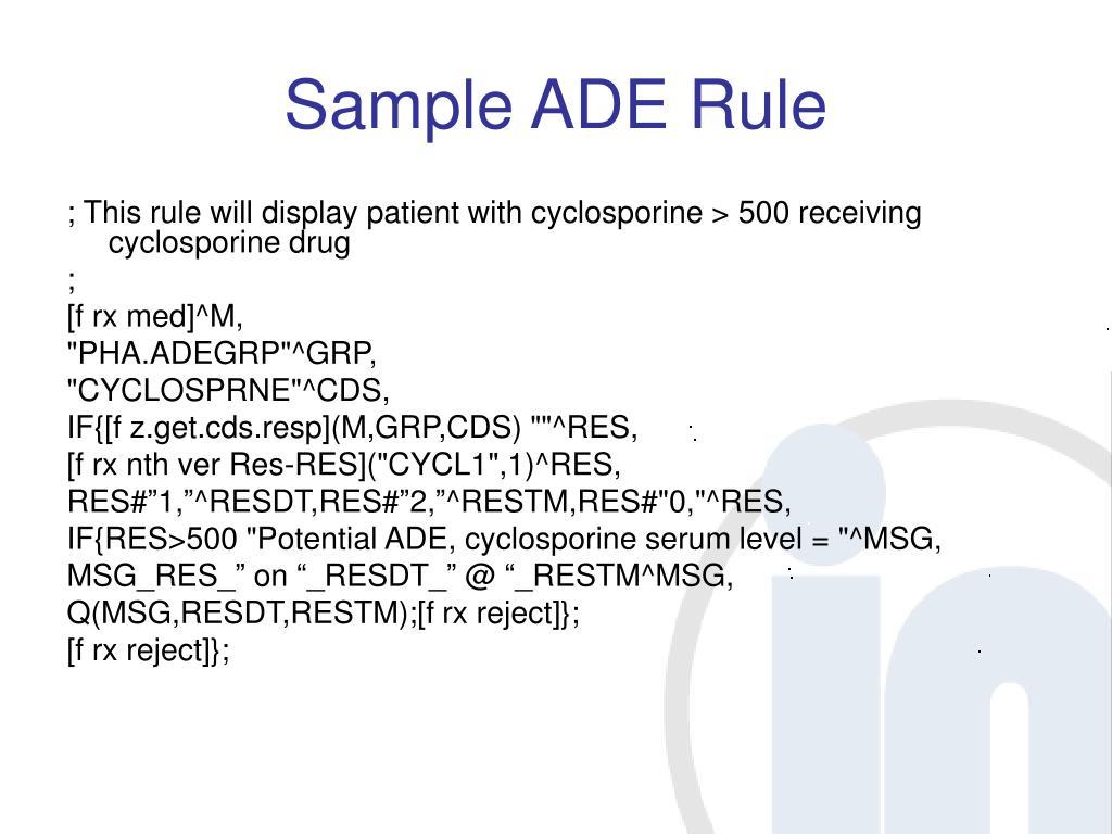 Sample ADE Rule