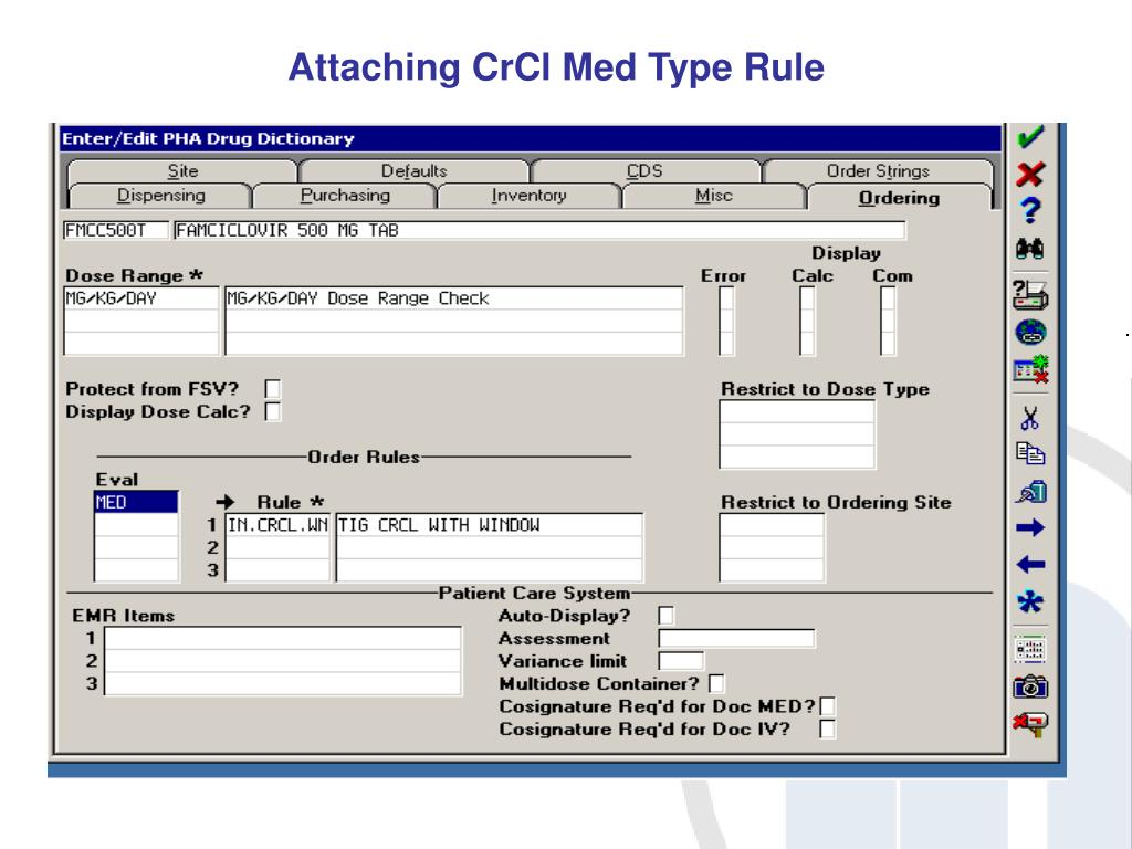 Attaching CrCl Med Type Rule