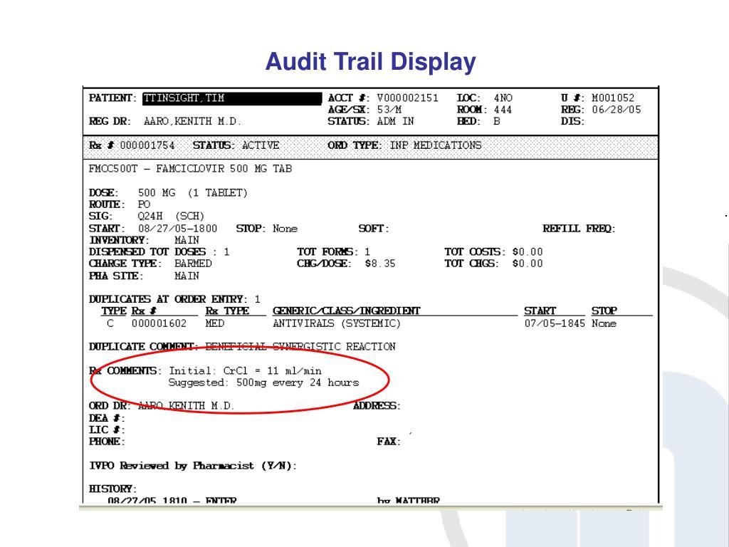 Audit Trail Display