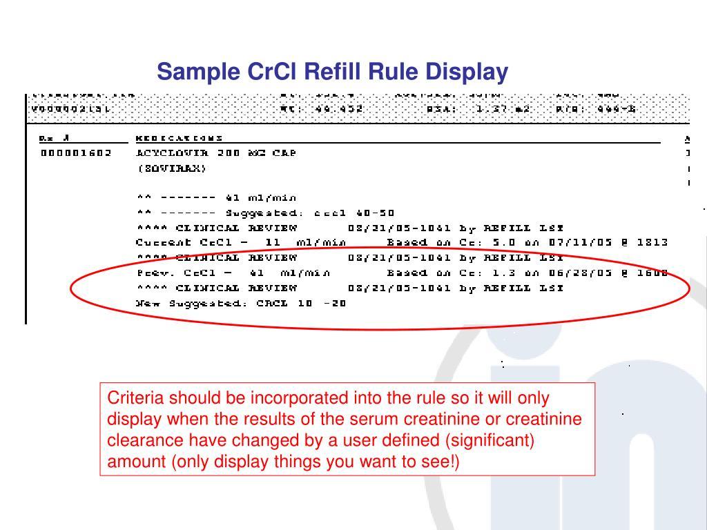 Sample CrCl Refill Rule Display