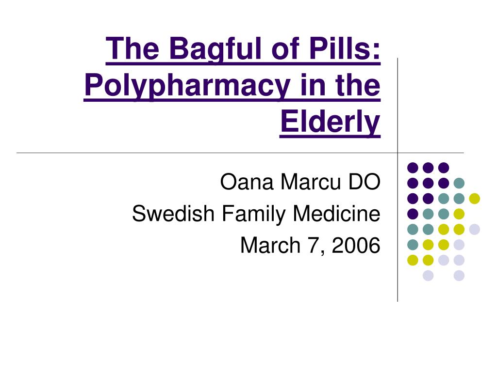 the bagful of pills polypharmacy in the elderly l.