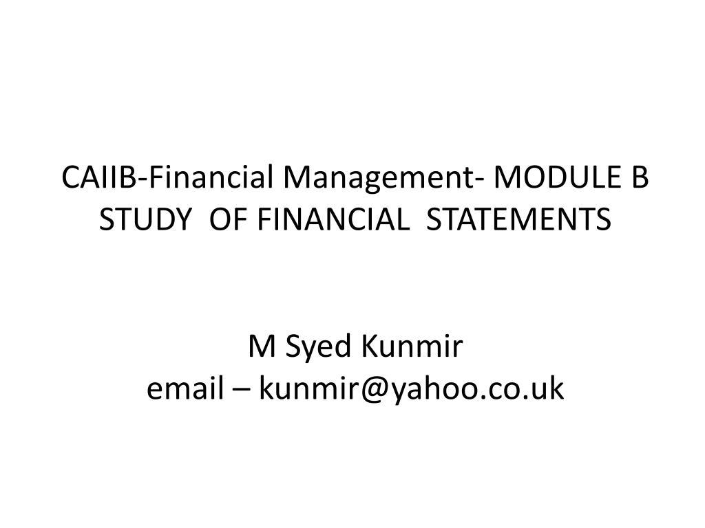 CAIIB-Financial Management- MODULE B