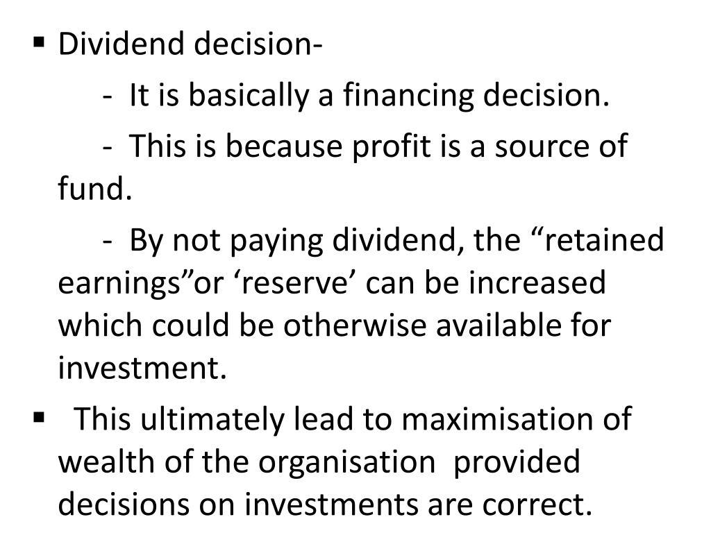 Dividend decision-