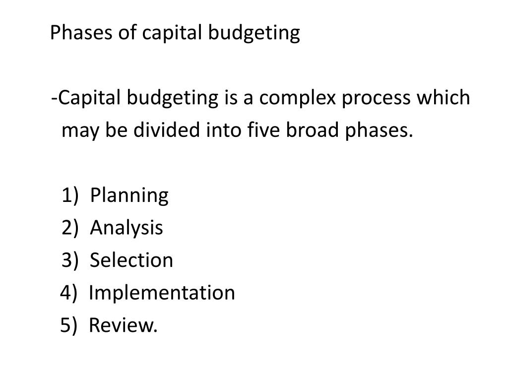 Phases of capital budgeting