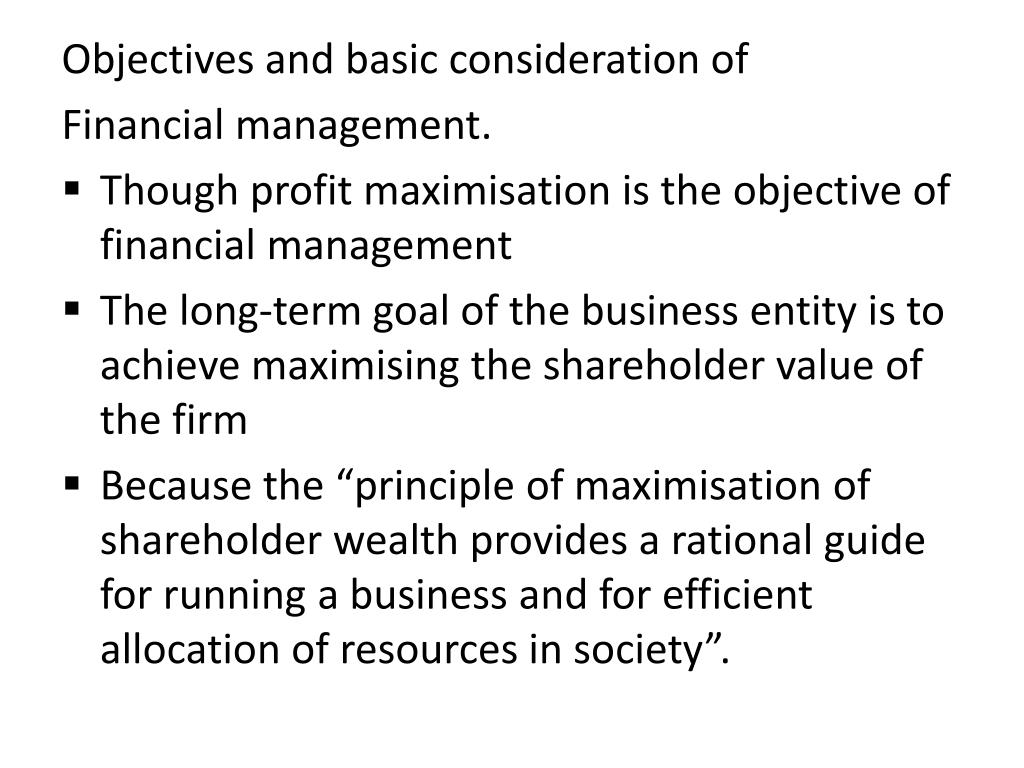 Objectives and basic consideration of