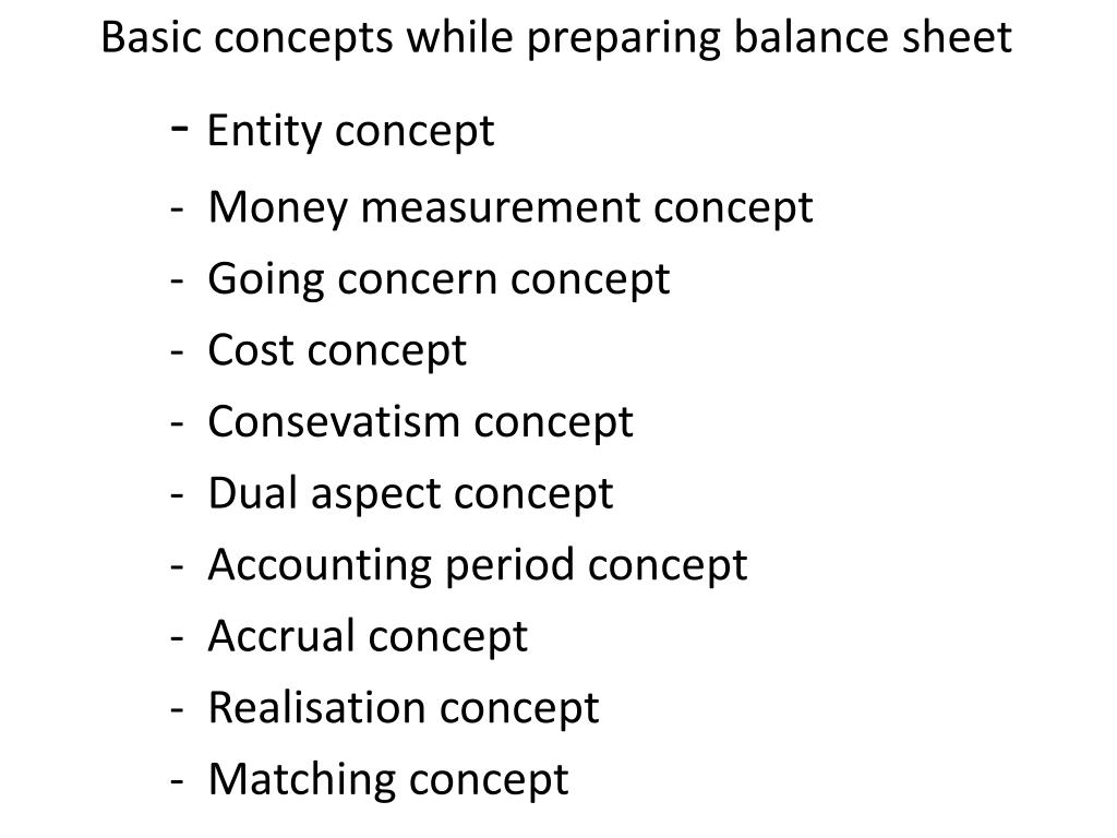 Basic concepts while preparing balance sheet