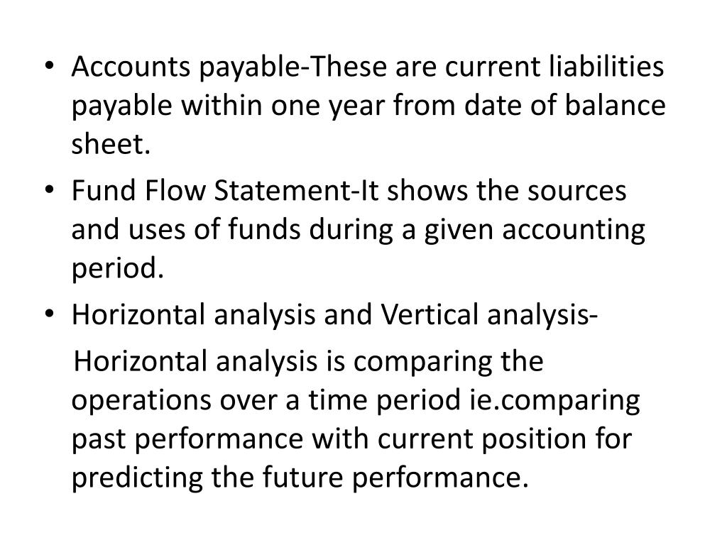 Accounts payable-These are current liabilities payable within one year from date of balance sheet.