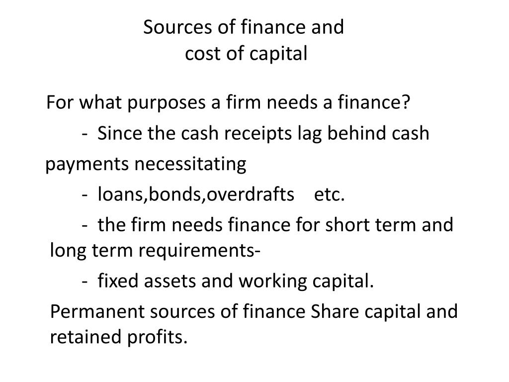 Sources of finance and
