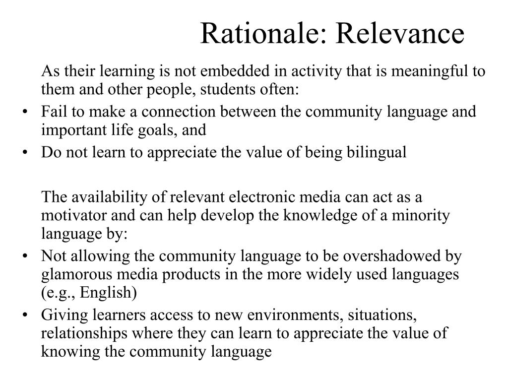 Rationale: Relevance