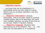 objective aspects