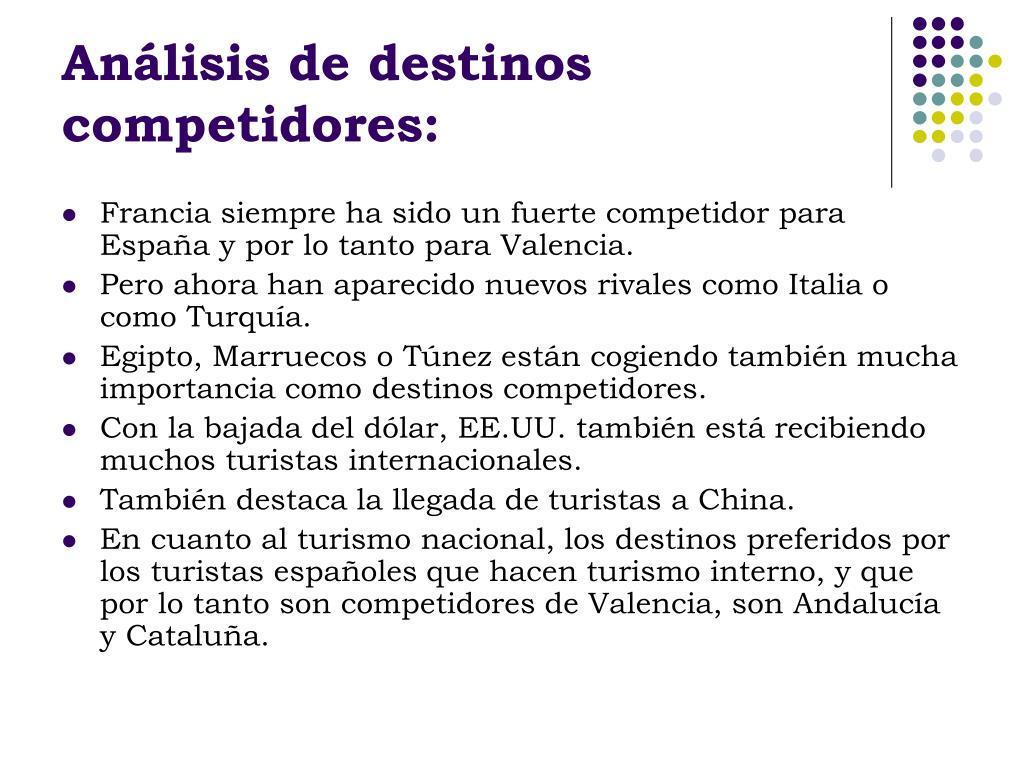 Análisis de destinos competidores: