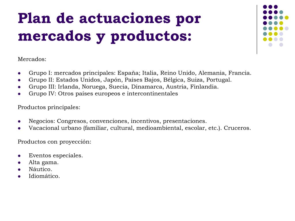 Plan de actuaciones por mercados y productos: