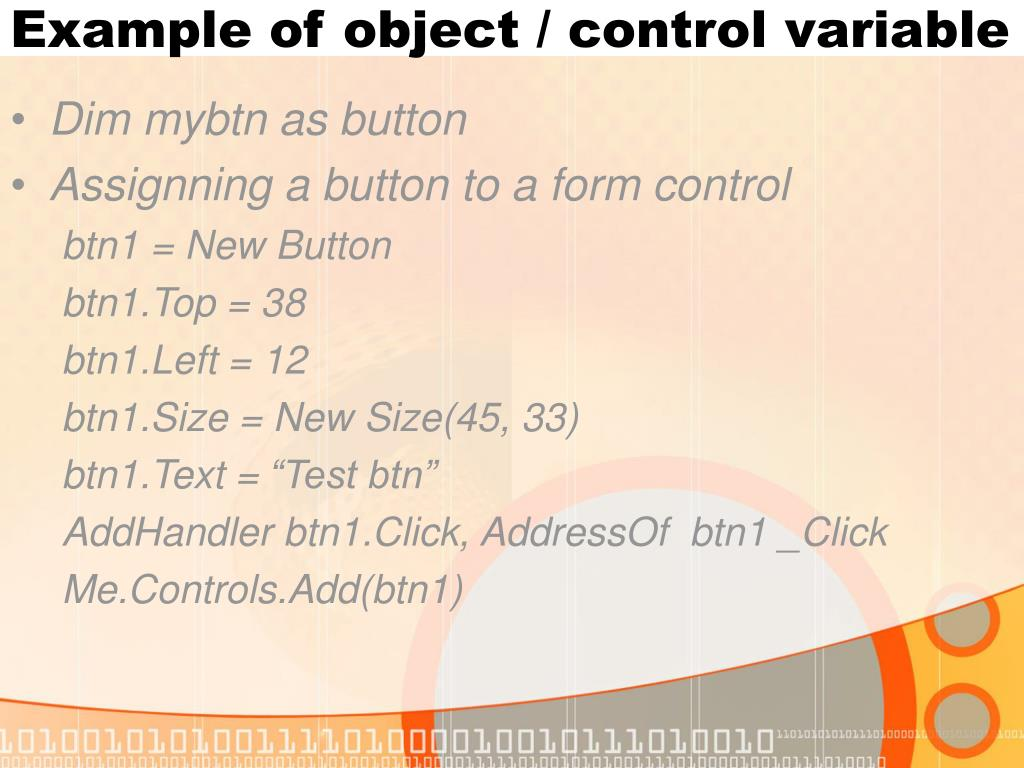 Example of object / control variable