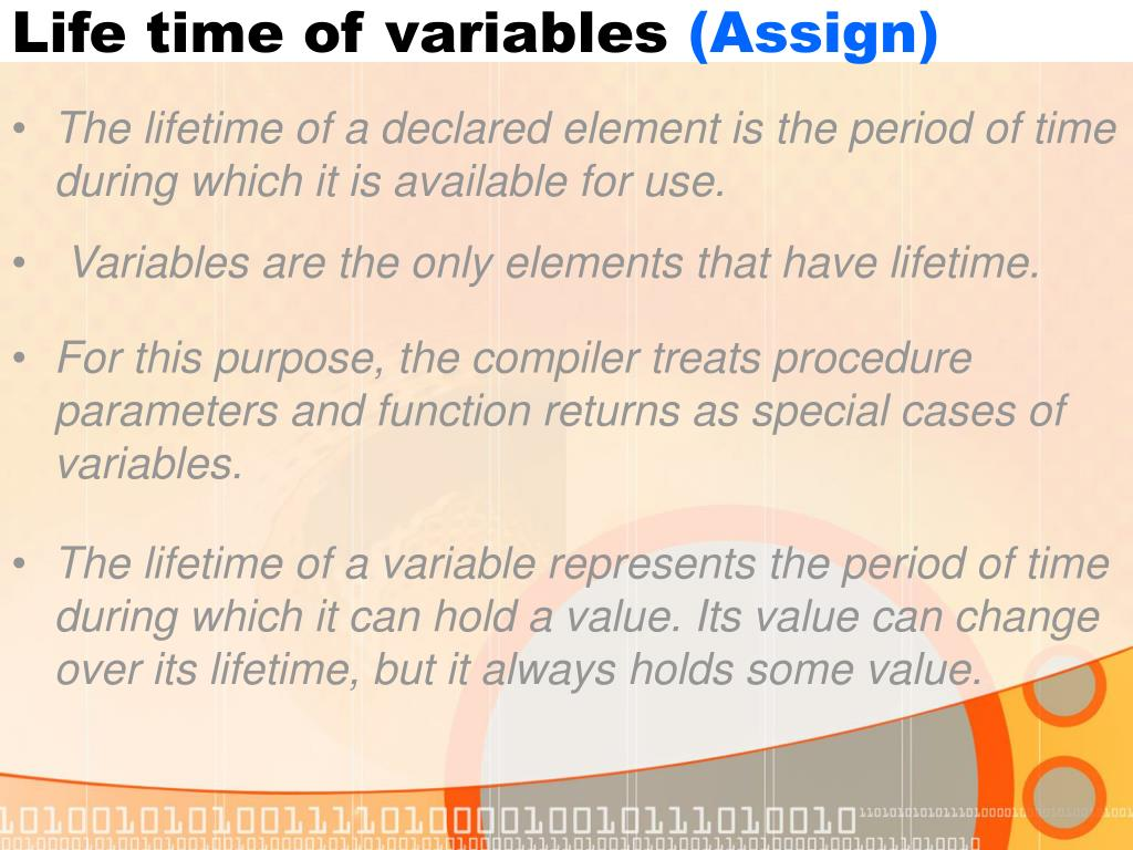 Life time of variables