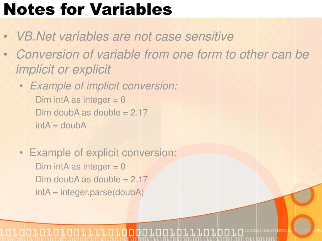 Notes for Variables