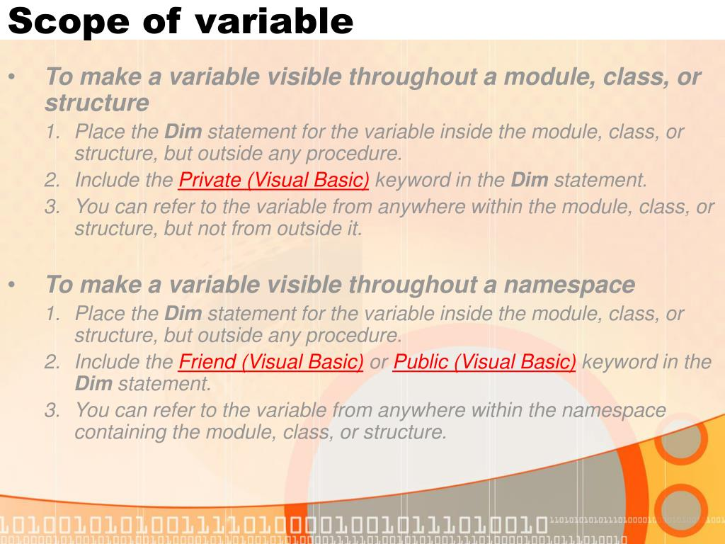 Scope of variable