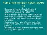 public administration reform par 1