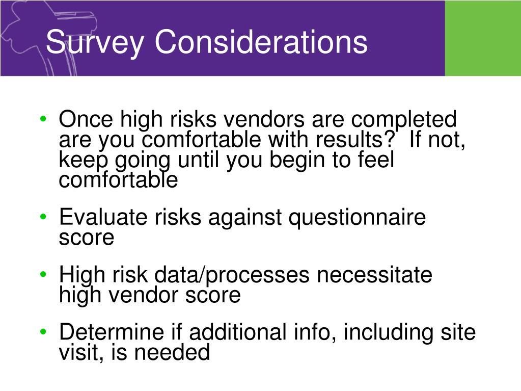Survey Considerations
