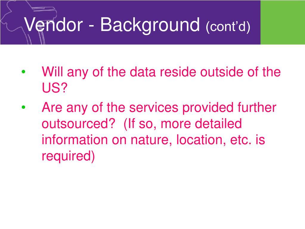 Vendor - Background