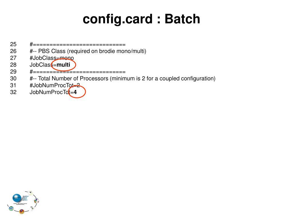 config.card : Batch