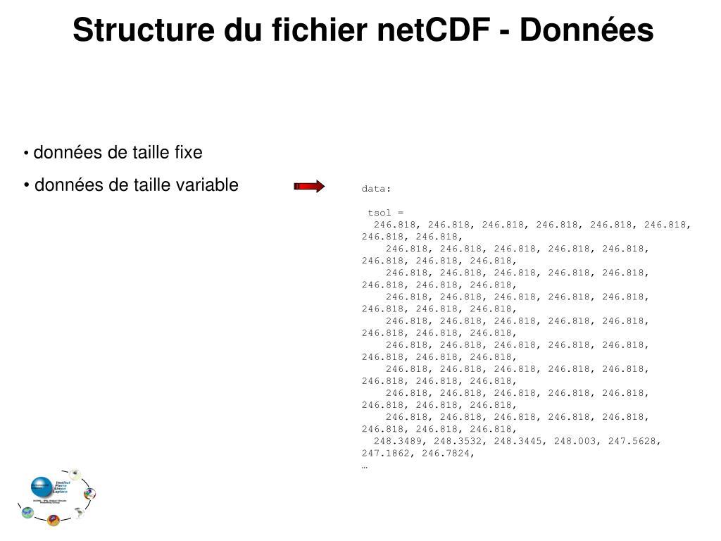 Structure du fichier netCDF - Données