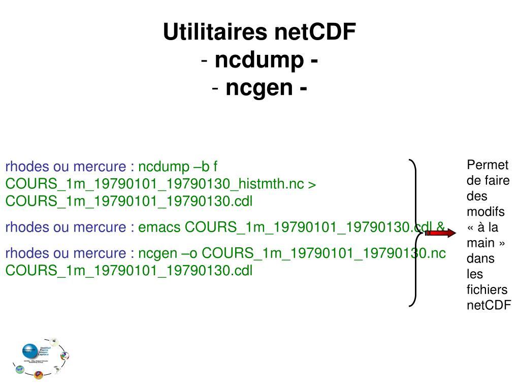 Permet de faire des modifs «à la main» dans les fichiers netCDF