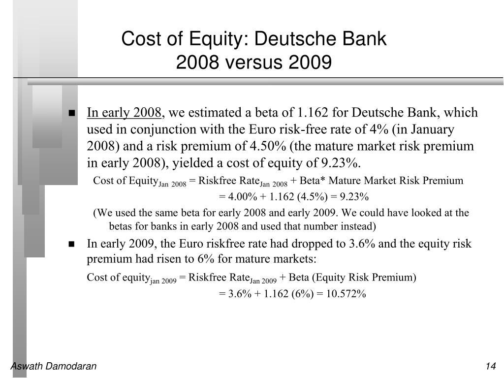 Cost of Equity: Deutsche Bank