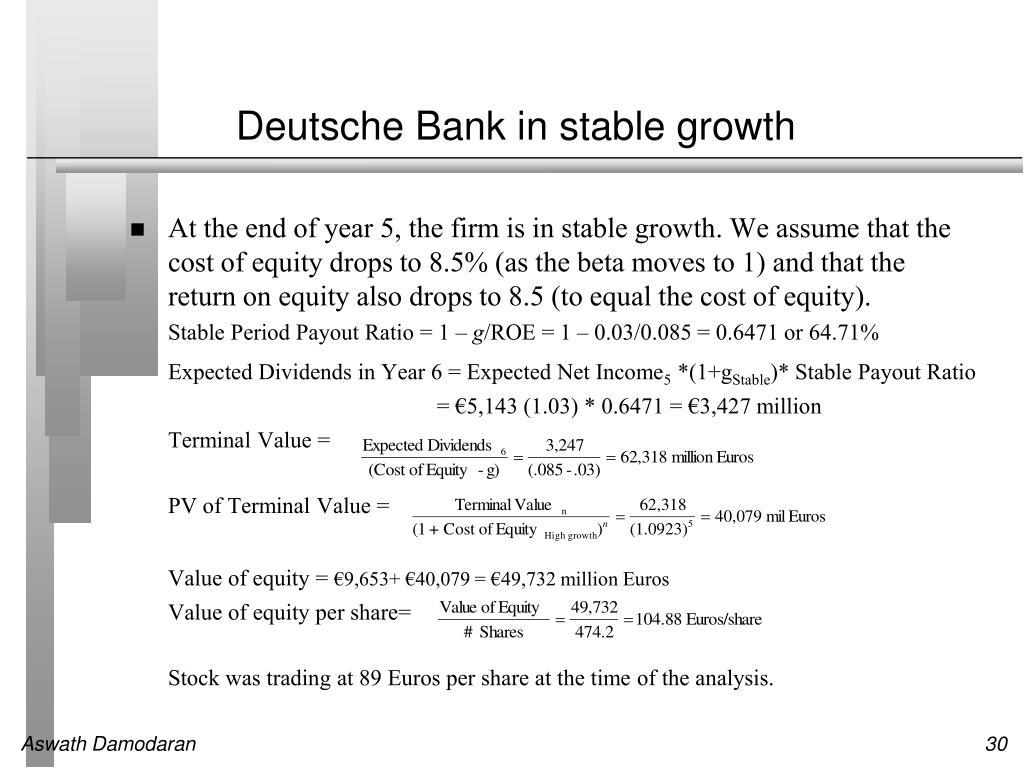Deutsche Bank in stable growth