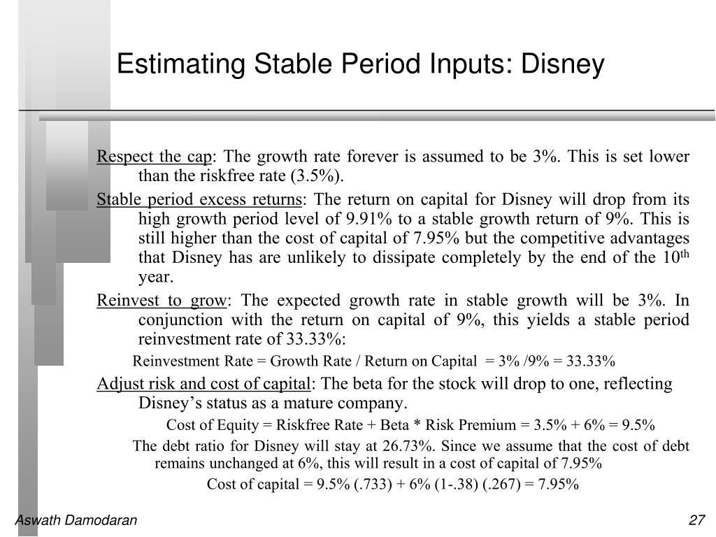 Estimating Stable Period Inputs: Disney