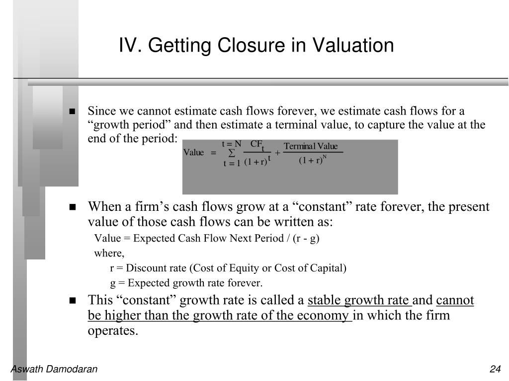 IV. Getting Closure in Valuation