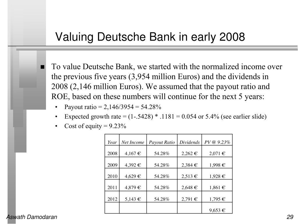 Valuing Deutsche Bank in early 2008