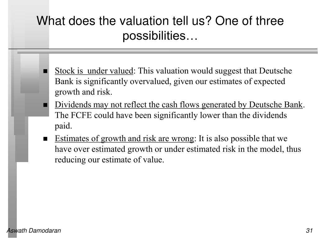 What does the valuation tell us? One of three possibilities…