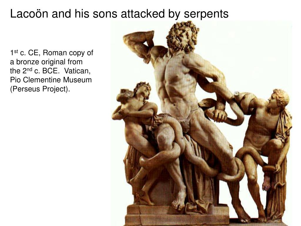 Lacoön and his sons attacked by serpents