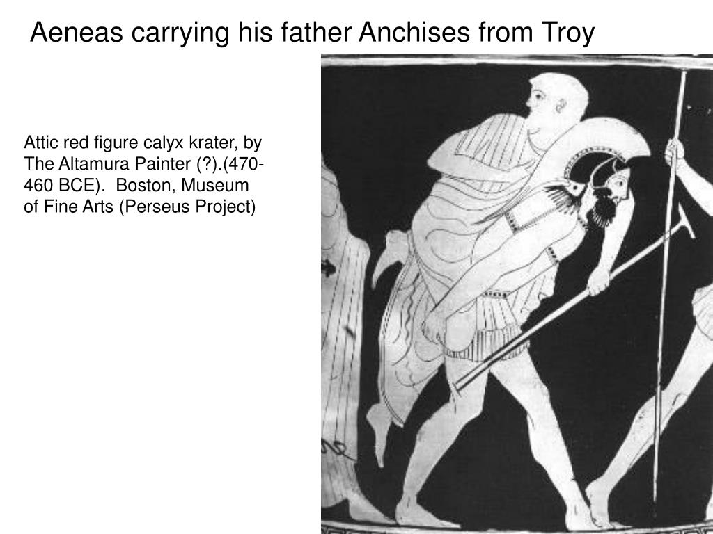 Aeneas carrying his father Anchises from Troy