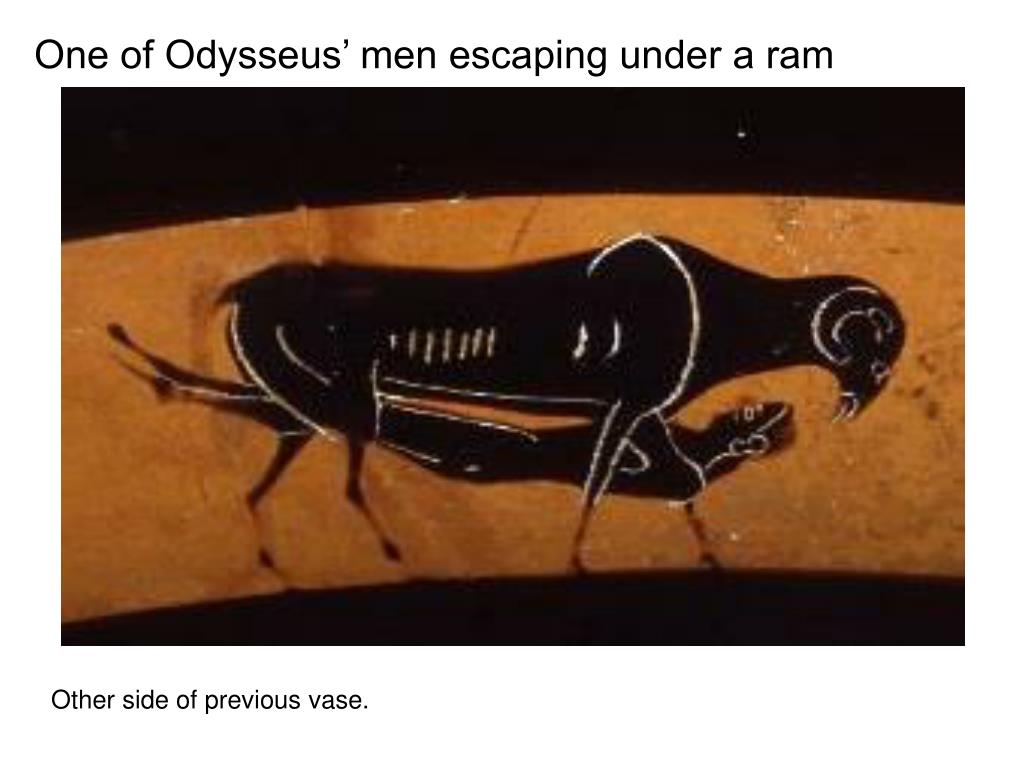 One of Odysseus' men escaping under a ram
