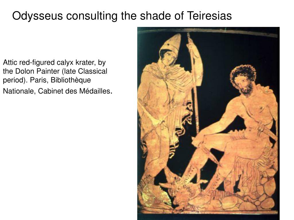 Odysseus consulting the shade of Teiresias