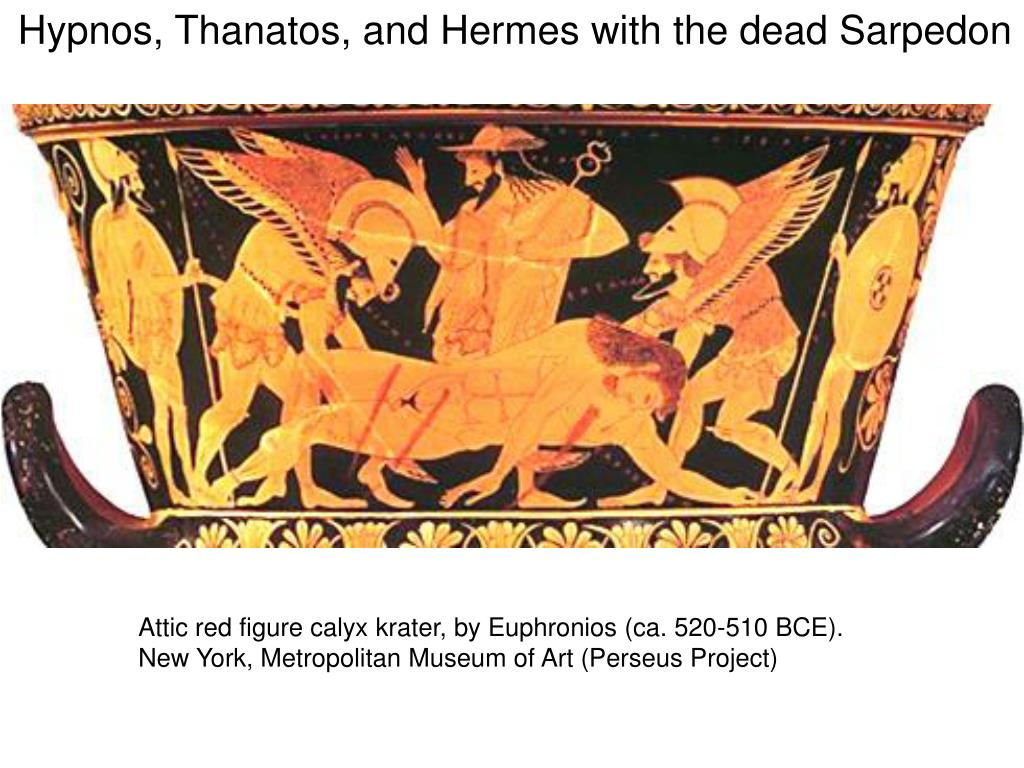 Hypnos, Thanatos, and Hermes with the dead Sarpedon