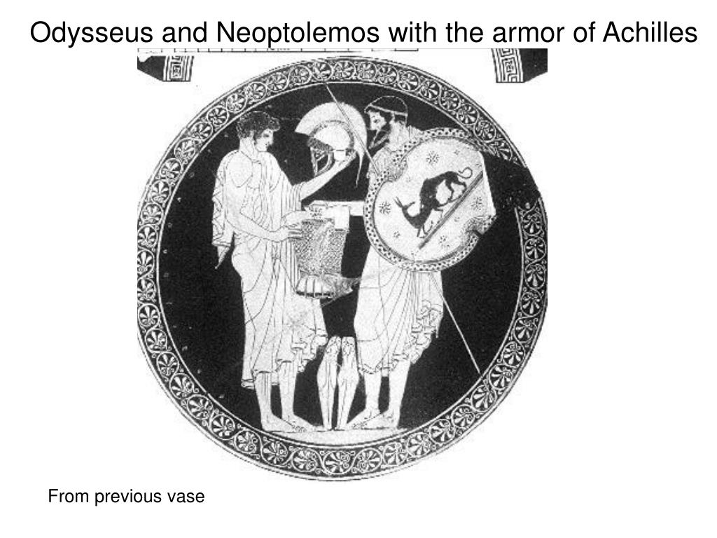 Odysseus and Neoptolemos with the armor of Achilles