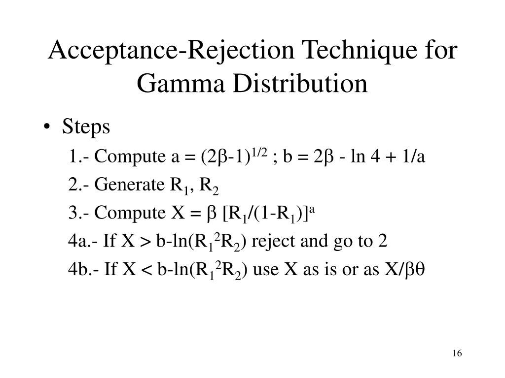 Acceptance-Rejection Technique for Gamma Distribution