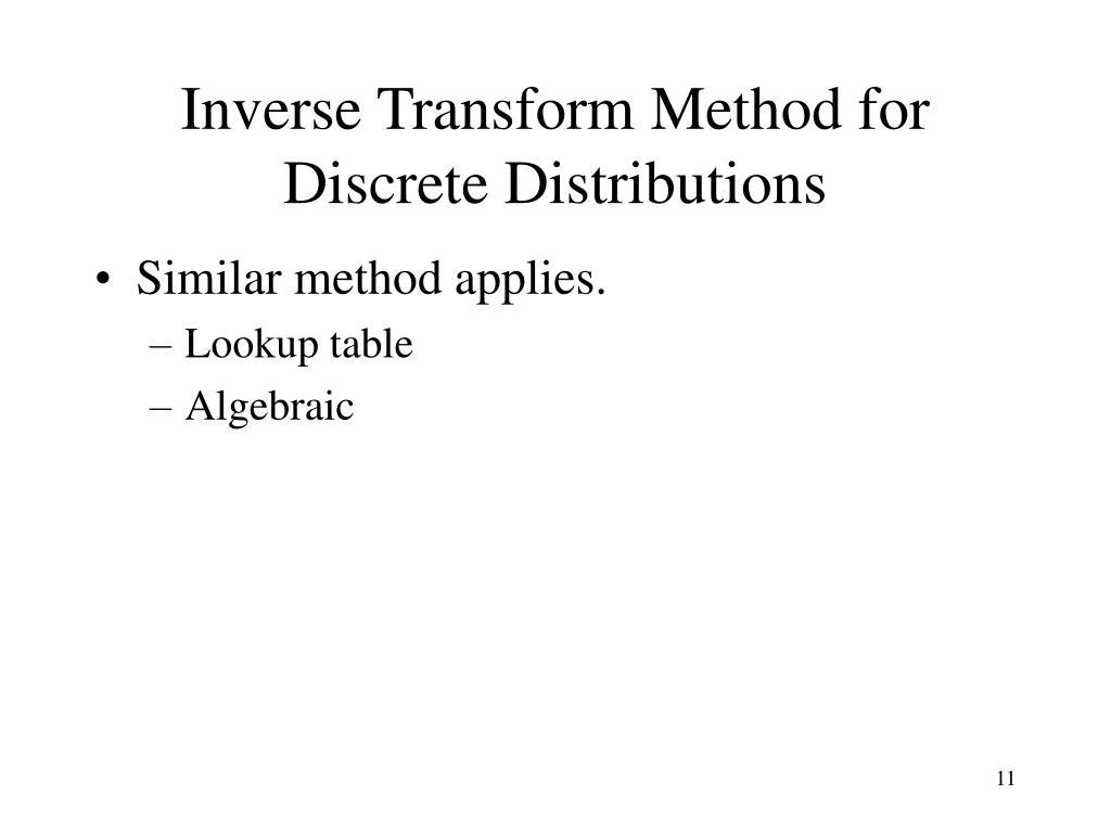 Inverse Transform Method for Discrete Distributions