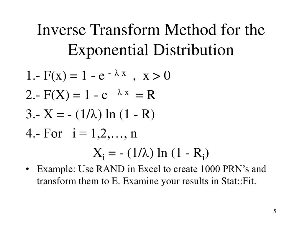Inverse Transform Method for the Exponential Distribution