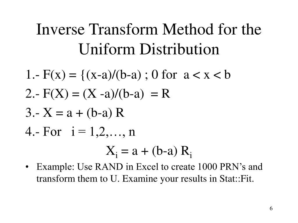 Inverse Transform Method for the Uniform Distribution