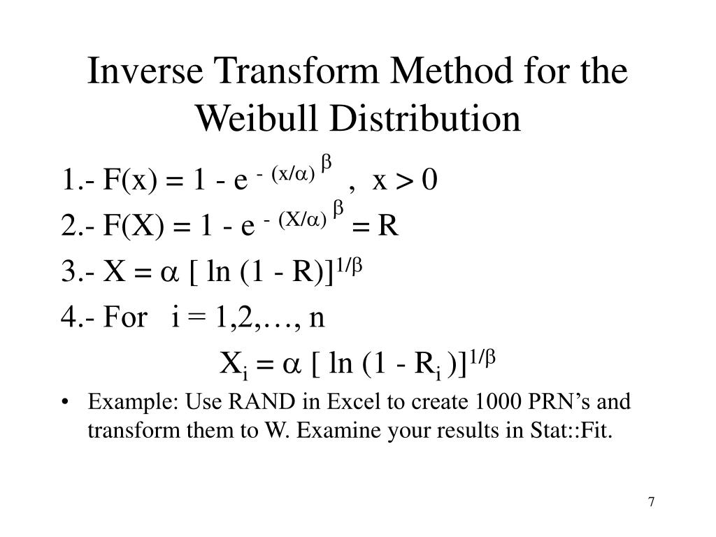 Inverse Transform Method for the Weibull Distribution